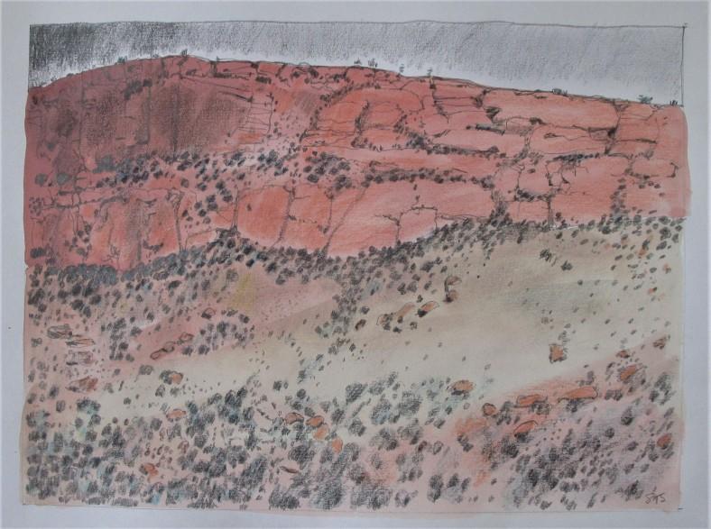 Mt Augustus rock face 30x23 gouache pencil